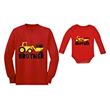 Big Brother Little Brother Long Sleeve Shirts Tractor Loving Boys Siblings Set
