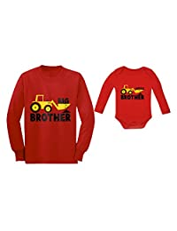 Tstars Big Brother Little Brother Long Sleeve Shirts Tractor Loving Boys Siblings Set
