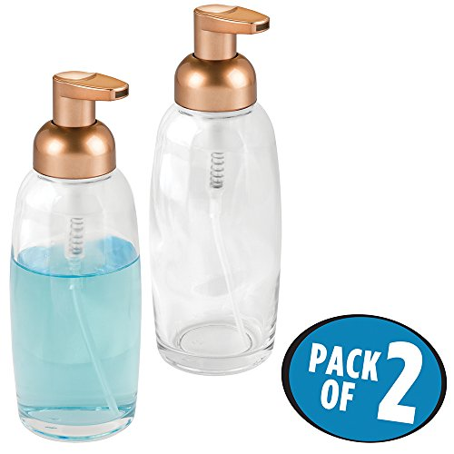 mDesign Foaming Soap Glass Dispenser Pump Bottle for Bathroom Vanities or Kitchen Sink, Countertops - Pack of 2, Clear/Copper (Glass Dishwasher Soap)