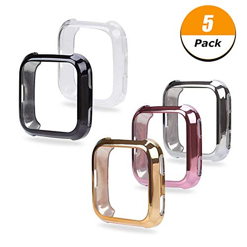 Fingertip WD Fitbit Versa Case, 5Pack Soft TPU Plated Screen Protector Full Protective Bumper Shell Cover Compatible Fitbit Versa Smartwatch