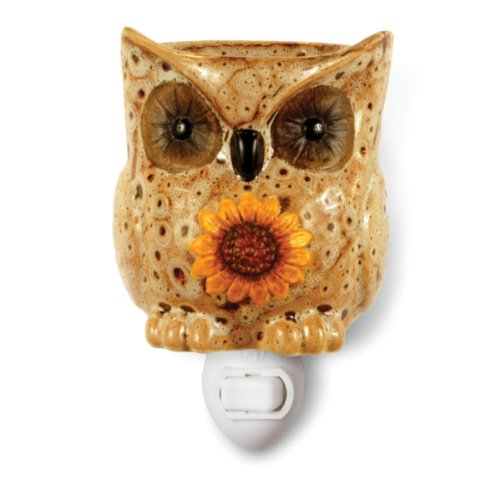 Fragrant Wax - Owl Plug-in Ceramic Stoneware Electric Tart Candle Warmer (Spotted White)