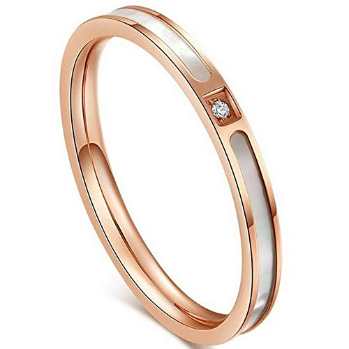 - Tomikko 2MM Unique AAA CZ Rose Gold Band Womens White Shell Stainless Steel Wedding Ring | Model RNG - 25241 | 4