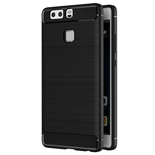 Funda Huawei P9, AICEK Negro Silicona Fundas para P9 Carcasa Huawei P9 Fibra de Carbono Funda Case