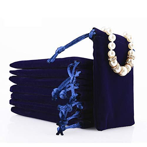 Oirlv Velvet Drawstring Pouches Travel Drawer Organizer Pouch Christmas,Wedding Party Favor Gift Bags (50Pack,Royal Blue)
