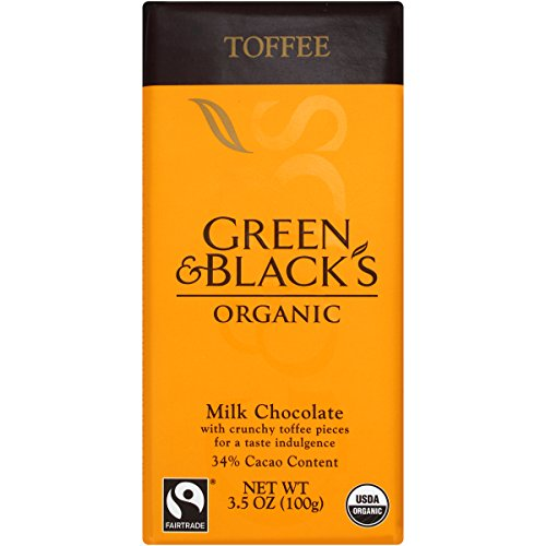 Green & Black's Organic Chocolate Bar, Milk Toffee 34% Cocoa, 3.5 oz Black Toffee