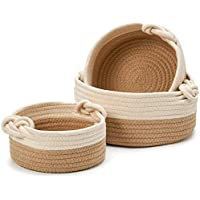 EZOWare Set of 3 Decorative Knit Baskets and Storage Organizer, Perfect for Storing Small Household Items - Brown…