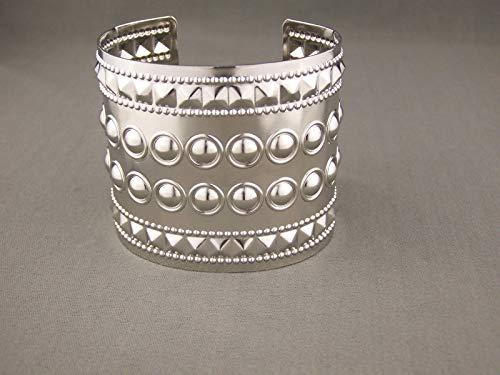 Shiny Silver tone metal bangle cuff 2.25 wide bracelet pyramid stud ()