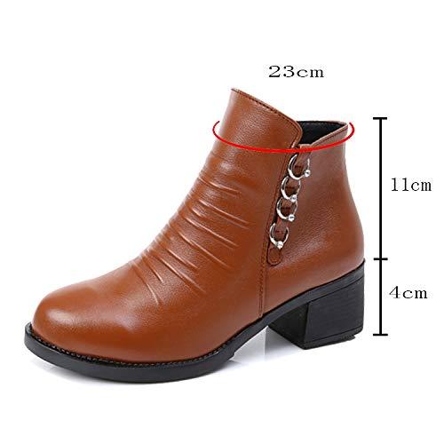 Haut Au Décontractée Tenue Pour Bottines Soirée Bloc Brown Cuir Dames Hauts Bureau Talons Femmes Chaussures En Talon De Marron aqwqR07