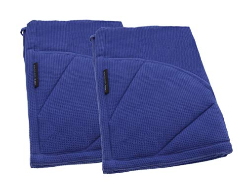 Rachael Ray Kitchen Towel and Oven Glove Moppine – A 2-in-1 Ultra Absorbent Kitchen Towel with Heat Resistant Pot-Holder Padded Pockets to Handle Hot Cookware and Bakeware – Blue/Pack of 2