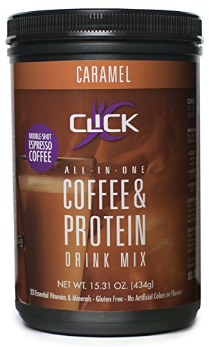 CLICK Coffee Protein | Protein & Authentic Coffee, All-In-One| Meal Replacement |Nutrition Drink | 23 Essential Vitamins | Double Shot Espresso Coffee | Hot or Cold |Caramel Flavor