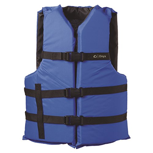 "ONYX General Purpose Boating Life Jacket, Adult Oversize Size (40""-60""), Blue"