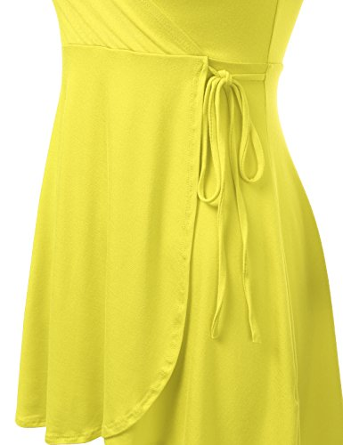 Awdsd0763 yellow Size for A Line Wrap Doublju with Short Sleeve Plus Surplice Dress Women RRpqO7