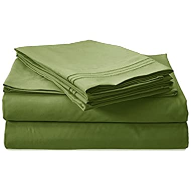 Clara Clark Premier 1800 Collection 4pc Bed Sheet Set - King Size, Calla Green