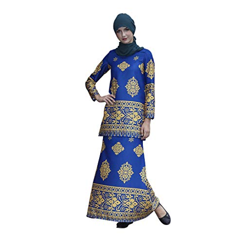 Women Muslim Dress Arab Islamic Middle East Long Sleeve Two-Piece Sets Dress Printing Top and Skirt CapsA Blue