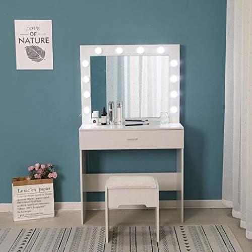 41JTfDGc4qL. AC Vanity Set with Lighted Mirror, Makeup Vanity Dressing Table Dresser Desk with Large Drawer for Bedroom, Walnut Bedroom Furniture(12 Cool LED Bulbs) (White, A)    Product description