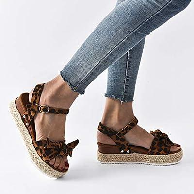 Addosd Women's Ankle Buckle Strap Wedges Sandals, Casual Leopard Bowknot Sandals Shoes Espadrilles Slingback Platform Sandals: Clothing