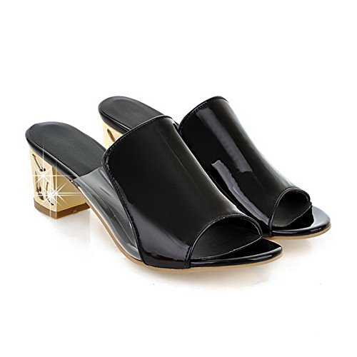 Pull Open Solid Sandals Material Kitten Heels Toe on Soft WeenFashion Black Women's 7Z5q8waU