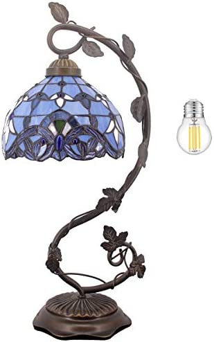 Tiffany Desk Lamp W8H20 Inch LED Bulb Included Lavender Stained Glass Table Reading Banker Light Blue Purple Baroque Style S003C WERFACTORY Lover Living Room Bedroom Coffee Bar Dresser Bookcase Gifts