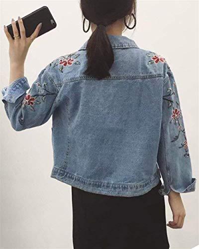 Cappotto Fashion Hellblau Eleganti Corto Marca Ricamo Denim Casuali Giacche Primaverile Outerwear Di Mode Fiori Donna Bavero Baggy Autunno Jacket Fiore Manica Lunga Vintage Jeans Fwgg1x4q5