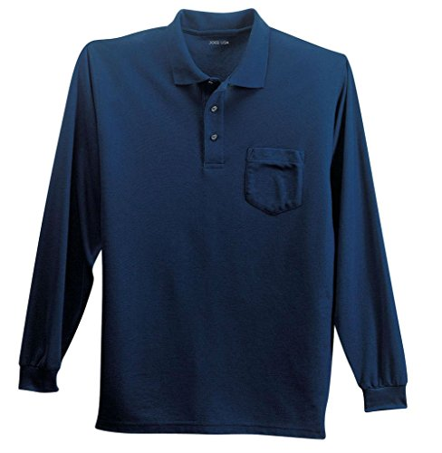 Joe's USA tm Mens Long Sleeve Pocket Polo -Navy-L (Knit Cotton Button)