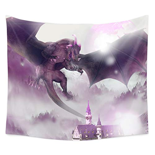 QCWN Dragon Decor Tapestry, Majestic Dragon Resting on Forest Mountain to Destroy Castle Fantasy Design Wall Hanging Tapestry for Bedroom Living Room Dorm.(3, 78Wx59L)