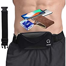 Running Belt with Extender Belt, Bounce Free Pouch Bag, Fanny Pack Workout Belt Sports Waist Pack Belt Pouch for Apple iPhone XR XS 8 X 7+ Samsung Note Galaxy in Running Walking Cycling Gym-05BK