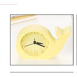 Ayzr Cartoon Cute Elephant Fashion Personality Bedside Ornaments Wake Up Small Clock Creative Cartoon Cute Clock,Yellow