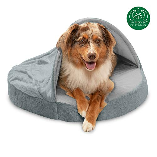 Furhaven Pet Dog Bed | Orthopedic Round Cuddle Nest Micro Velvet Snuggery Burrow Pet Bed for Dogs & Cats, Gray, 26-Inch