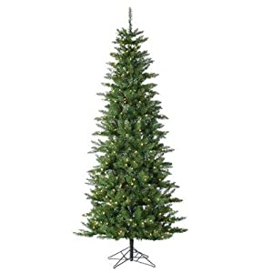 Augusta Pine Narrow Artificial Christmas Tree Color: Clear, Size: 7.5' (400 Lights) 2