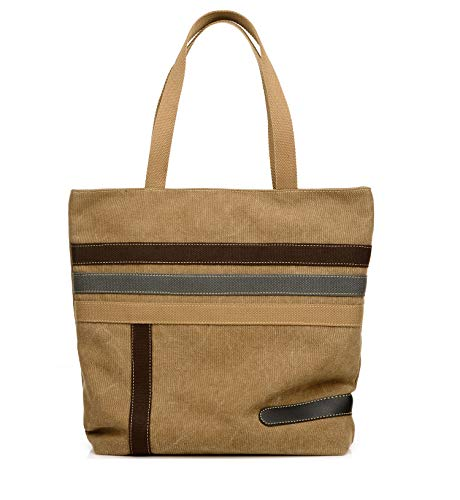 - Womens Shoulder Bags Canvas Top-Handle Purses Casual Vintage Tote Handbags Shopping Bags (Brown)