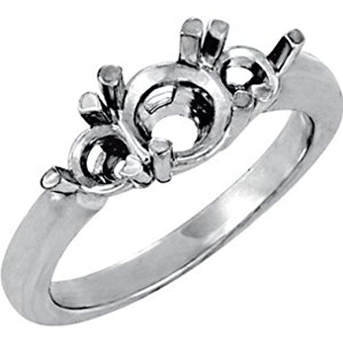 (Platinum 3-Stone Engagement Ring or Band Mounting Size 6)