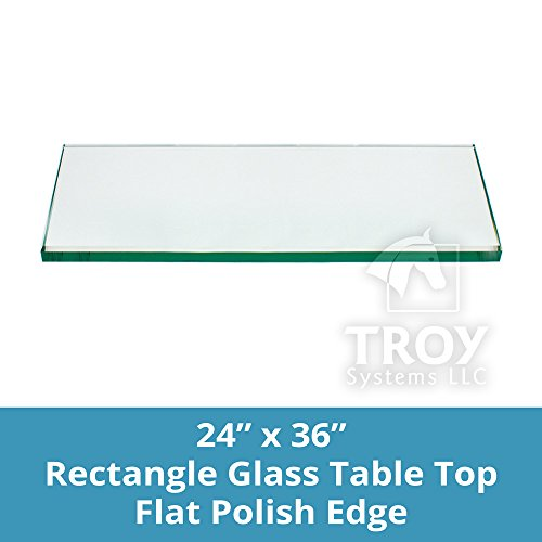 """TroySys Tempered Glass Table Top, 1/4"""" Thick, Flat Polished"""