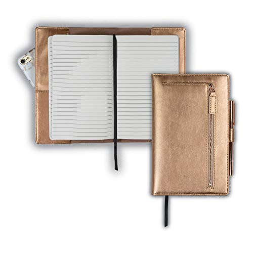 - Samsill Notebook Portfolio - Business Portfolio for Women, Notebook Holder with Zipper Accessory Pocket, Refillable 5x8 Notepad, Rose Gold