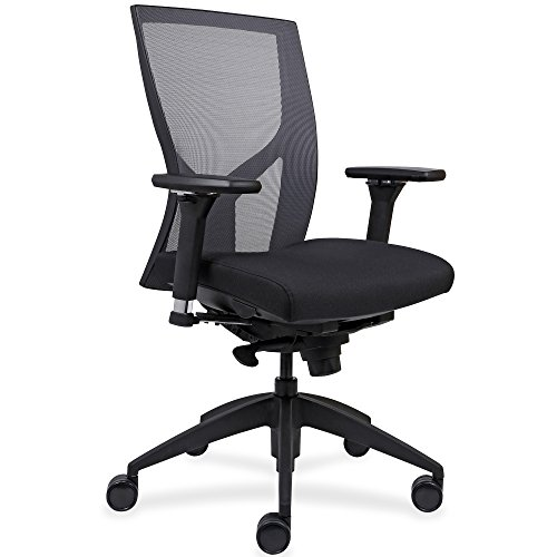 Lorell Made in America High-Back Mesh Chairs with Fabric Seat, Available in Black, Dark Blue, Orange (Black)