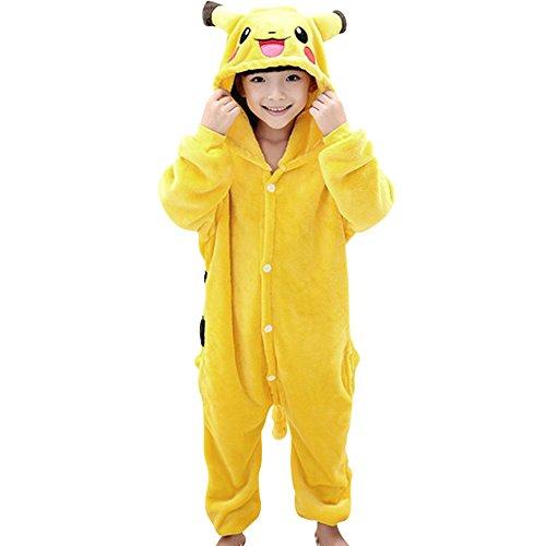 Zhongyu Kigurumi Pajamas For Kids Sleepwear Cosplay Costume Onesie Unicorn Party Gift (130#, Pikachu)