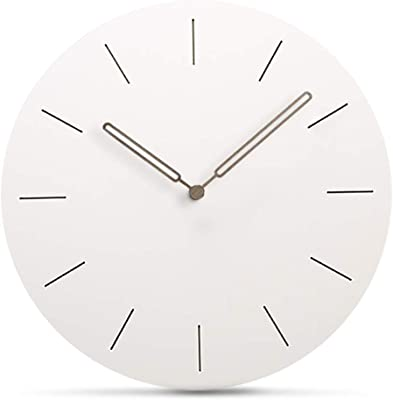 """Simple Modern Design Round Wall Clock Vintage Style White 11.4"""" No Ticking MDF Wooden Quiet Quartz Wall Watches Kitchen Living Room Bedroom Home Office Indoor Decorative Hanging Clock (Type A)"""