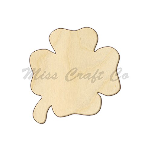 Four Leaf Clover Wood Shape Cutout, Wood Craft Shape, Unfinished Wood, DIY Project. All Sizes Available, Small to Big. Made in the USA. 6 X 5.6 INCHES