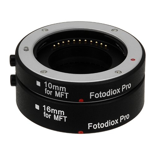 Fotodiox Pro Automatic Macro Extension Tube Kit for Micro Four Thirds (Micro-4/3, MFT) Mirrorless Camera System with Auto Focus (AF) and TTL auto Exposure for Extreme Close-up (10mm, 16mm) - Fits OM-D, E-M5, E-P3, GH2, GH4, GF3, GF5, etc. by Fotodiox