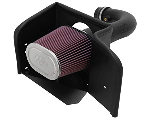 K&N Cold Air Intake Kit with Washable Air Filter:  2002-2012 Dodge Ram 1500, 4.7L V8,  Black HDPE Tube with Red Oiled Filter, 57-1529