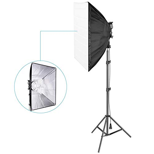 Neewer 800W Photography Studio Softbox Lighting Kit: (1) 20x27 inches Softbox, (1)4-Socket Light Holder, (4)45W Light Bulb, (1)200cm Light Stand for Portrait Video Shooting