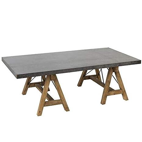TABLE DE SALON RECTANGULAIRE EN METAL GRIS ET BOIS NATUREL ...