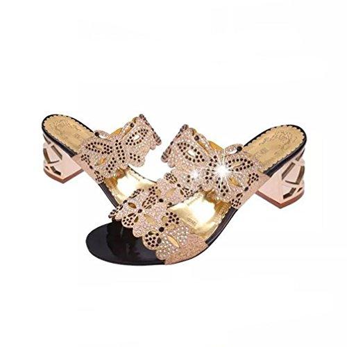Montantes Ado Chaussures Sandales à A Chaussure Strass Open Toe Talons Les Hauts Pantoufles Lacet Sandales en BohèMe Beautyjourney Talon Or Femmes 5xTq7Xx