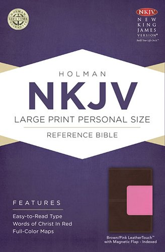 NKJV Large Print Personal Size Reference Bible, Brown/Pink LeatherTouch with Magnetic Flap Indexed ebook