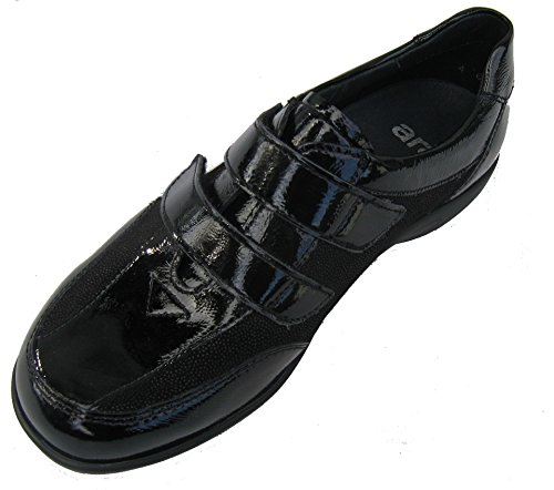 Ara shoes Ara loafer Leather womens womens Leather loafer Black qBx07EF