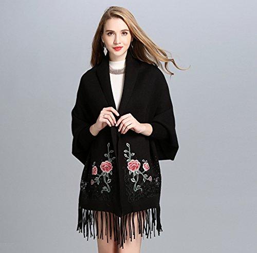 Mujeres WanYang Y Tamaño Gran Moda Bufandas De De Abrigo Negro De Casual Punto Chal Mantón Cárdigan TqdqHS