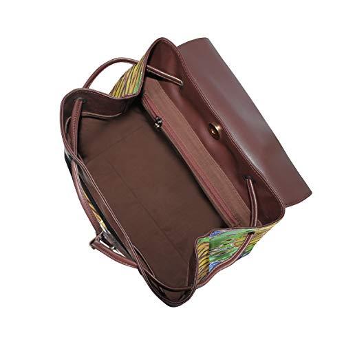 Kvinnor PU-läder livets träd ryggsäck handväska resa skola axelväska ledig dagväska