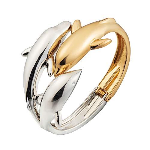 ODETOJOY Dolphin Bracelet for Women 18K Gold Silver Plated Three Dolphins Bangle Bracelets Elegant Jewelry for Ladies