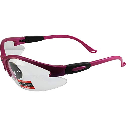 (Cougar Safety Glasses, Clear Lens, Hot Pink)