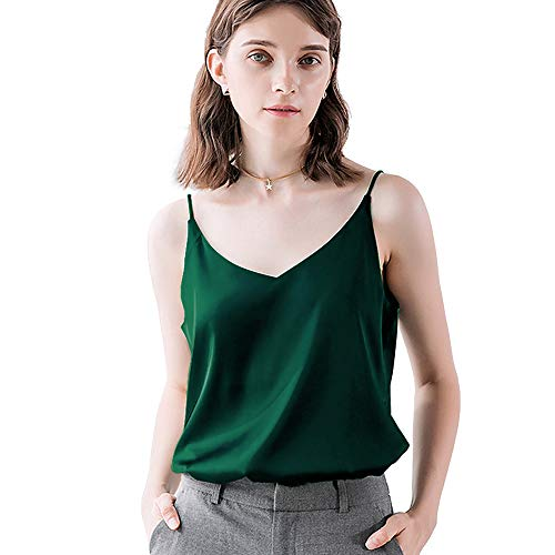 - Bighand Cat Sexy Women's Silk Tank Top Ladies Camisole Silky Loose Sleeveless Blouse Tank Shirt with Soft Satin (DarkGreen, Size L(Tag Size Asia XXXL))