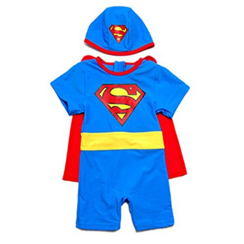 Baby Boys New Pattern Superman One Piece UV Protection Swimsuit With Hat & Cloak, Blue, 3T